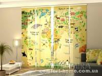 Панельная штора Детская карта комплект 4 шт
