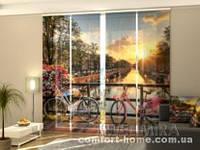 Панельная штора Красивый восход солнца над Амстердам комплект 4 шт