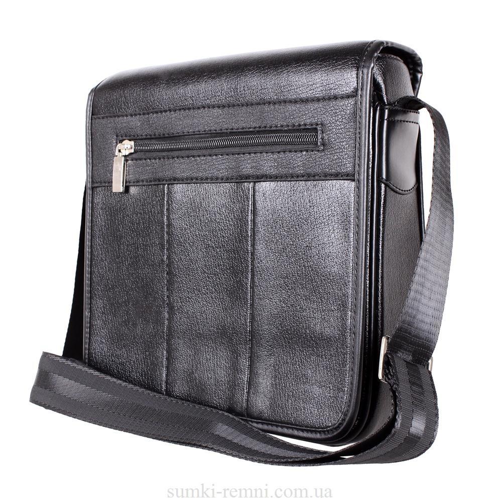 Мужская сумка из искусственной кожи E302651 Черная
