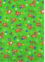 Ткань детская Фланель НАБ (Россия) арт.5889 рис.18731/4 МЫШКА/НАПЕРСТОК фон Зеленый 100%ХЛ ПЛ180 Ш90