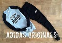 Спортивный костюм Adidas, адидас, серо-черный, большое лого, хлопок, черное лого, К4