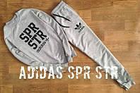 Спортивный костюм Adidas, адидас, серый, трикотаж, большое лого, К5