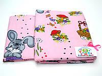 Детский байковый (фланель) постельный комплект (розовый с зайкой)