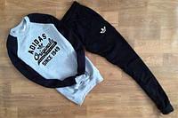 Спортивный костюм Adidas, адидас, ориджинал, серо-черный, хлопок, с манжетом, К9