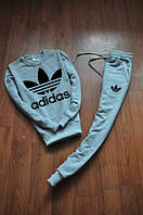 Спортивный костюм Adidas, адидас, серый, трикотаж, брендовый, К11