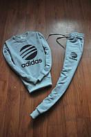 Спортивный костюм Adidas, адидас, серый, реглан, хлопок, с манжетом, К15