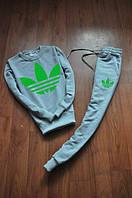 Спортивный костюм Adidas, адидас, серый, хлопок, зеленое лого, К13