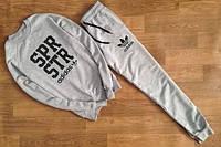 Спортивный костюм Adidas, адидас, серый, реглан, трикотаж, брендовый, черное лого, К18