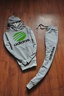 Спортивный костюм Adidas, адидас, серый, кенгуру, с капюшоном, зеленое лого, трикотаж, К17