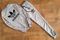 Спортивный костюм Adidas, адидас корона, серый, реглан, лого на груди, стильный, хлопок, К19