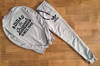 Спортивный костюм Adidas, адидас, серый, реглан, черное лого, трикотаж, К16