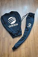 Спортивный костюм Adidas, адидас, синий, большое лого, молодежный, повседневный, трикотаж, К25
