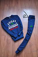 Спортивный костюм Adidas, адидас, синий, молодежный, спортивный, хлопок, К26