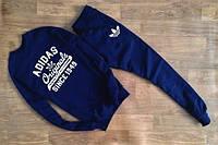 Спортивный костюм Adidas, адидас, синий, реглан, большое лого, стильный, К32