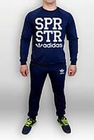 Спортивный костюм Adidas, адидас, синий, реглан, большое лого, хб, К35