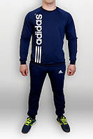 Спортивный костюм Adidas, адидас, синий, лого сбоку, трикотаж, спортивный, с манжетом, К36
