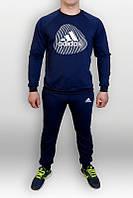 Спортивный костюм Adidas, адидас, синий, стильный, хлопковый, брендовый, К38