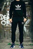 Спортивный костюм Adidas, адидас, черный, реглан, хлопковый, спортивный, К49