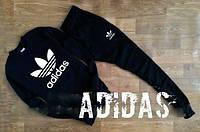 Спортивный костюм Adidas, адидас, черный, лого белое, трикотаж, спортивный, стильный, К50