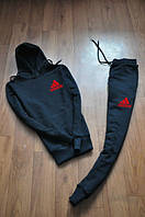 Зимний спортивный костюм, теплый костюм Adidas, Адидас, черный, кенгру, с капюшоном, К48