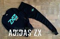 Спортивный костюм Adidas, адидас з икс, черный, реглан, зеленое лого, спортивный, хб, К51