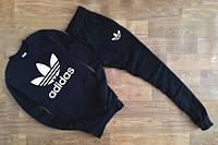 Спортивный костюм Adidas, адидас, черный, реглан, белое лого, спортивный, унисекс, К57