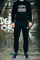 Спортивный костюм Adidas, адидас, черный, реглан, хб, повседневный, спортивный, К56