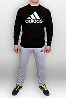 Спортивный костюм Adidas, адидас, реглан, черная кофта серые штаны, большое лого, хлопок, К59