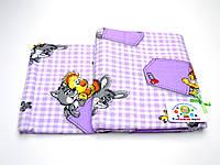 Детский байковый (фланель) постельный комплект  (фиолетовый зверюшки в кармане)
