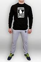 Спортивный костюм Adidas, адидас, реглан, черная кофта серые штаны, брендовый, стильный, К61