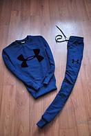 Спортивный костюм Under armour, андер армор, синий, реглан, черное лого, спортивный, трикотаж, К70