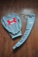 Спортивный костюм Under armour, андер армор, серый, реглан, красное лого, К66