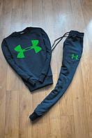 Спортивный костюм Under armour, андер армор, синий, реглан, зеленое лого, стильный, К75