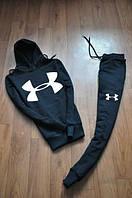 Зимний спортивный костюм, теплый костюм Under armour, андер армор, черный, Кенгуру, толстовка, с капюшоном, К71