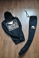 Спортивный костюм bad boy, бед бой, черный, кенгуру, большое лого, хб, стильный, К90
