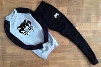 Спортивный костюм Venum, венум, серо-черный, реглан, большое лого, К94