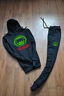 Спортивный костюм Venum, венум, черный, кенгуру, с капюшоном, большое лого, К106