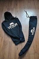 Спортивный костюм Venum, венум, черный, мужской, кенгуру, с капюшоном, белое лого, К107