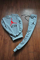 Спортивный костюм Jordan, джордан, серый, реглан, спортивный, большое лого, хлопок, К112