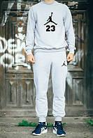 Спортивный костюм Jordan, джордан, серый, реглан, спортивный, черное лого, хлопок, К113