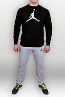 Спортивный костюм Jordan, джордан, серо-черный, реглан, спортивный, хлопок, К135