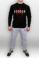 Спортивный костюм Jordan, джордан, серо-черный, реглан, спортивный, трикотаж, К136