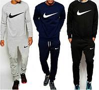 Зимний спортивный костюм, теплый костюм Nike Найк, костюм мужской, цвета:серый, синий, чёрный, К155