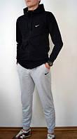 Спортивный костюм Nike, найк, хлопковый, молодежный, черная кофта и серые штаны,  К231