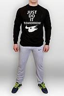 Спортивный костюм Nike, найк,  релан, серо-черный, стильный, большое лого, тренеровочный, К238