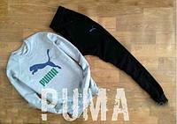 Спортивный костюм Puma, пума, реглан, серо-черный, хлопковый, повседневный, молодежный, К247