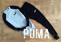 Спортивный костюм Puma, пума, реглан, серо-черный, хлопковый, повседневный, спортивный, К248