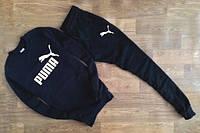 Спортивный костюм Puma, пума, реглан, черный, хлопковый, спортивный, повседневный К264