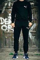 Спортивный костюм Puma, пума, реглан, черный, хлопковый, спортивный, мелкое лого, К262