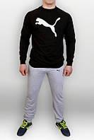 Спортивный костюм Puma, пума, реглан, серо-черный, хлопковый, спортивный, мелкое лого, К265